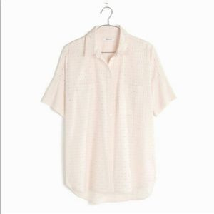 Madewell courier pink blush eyelet shirt Small S